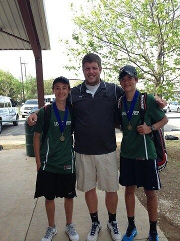 Pictured: Sophomore Brooks Hutton, Athletic Director Matt Tarbutton and Freshmen Matheus Mecatti