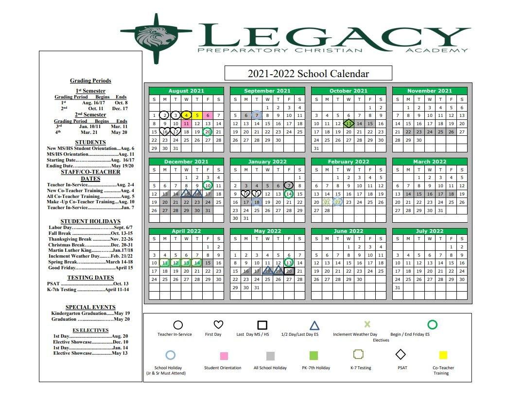 Tamu Academic Calendar 2022.Academic Calendar Legacy Preparatory Christian Academy